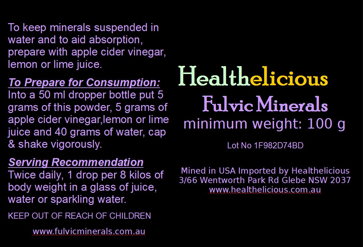 Fulvic Mineral Powder Label